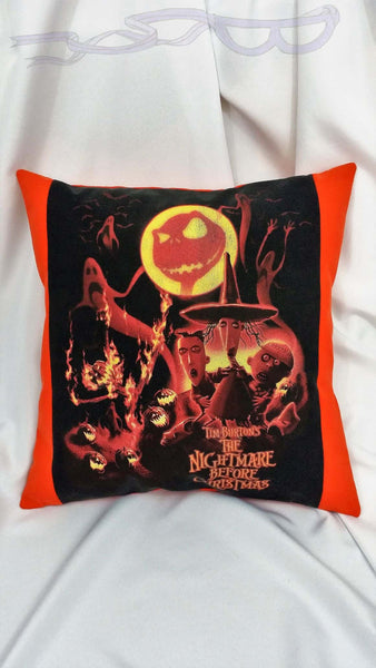 features the bony face of Jack in the moon above the Halloweentown pumpkin patch with ghosts and a frightened Lock, Shock, and Barrel, all in orange hues on a black background.