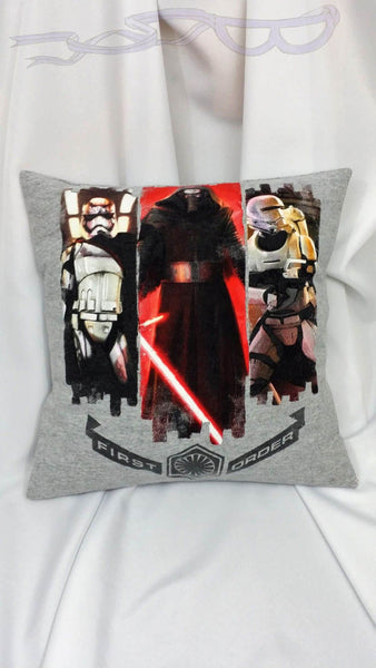 Star Wars First Order t shirt made into a pillow cover. Movie lovers gift made from dark side shirt w/ Kylo Ren, Capt. Phasma & Stormtrooper