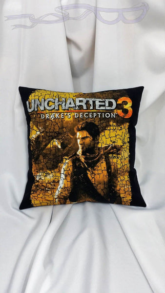 Uncharted t shirt made into a decorative pillow cover