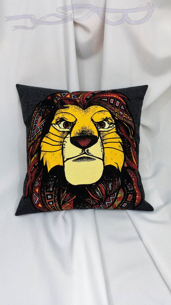 It features the intense face of adult Simba with varied angular designs in his rich mane, all on a dark gray background.