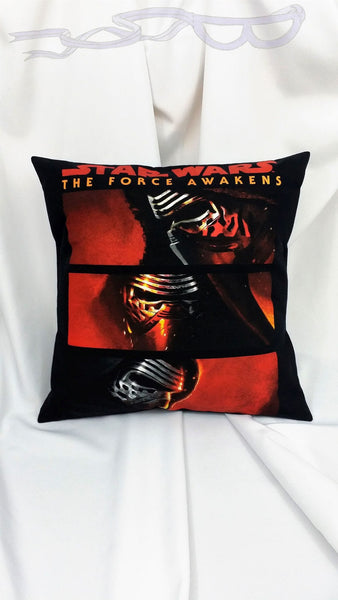 "features the villainous face of Kylo Ren in three positions. All of it is featured with the words ""Star Wars The Force Awakens"" on a black background."