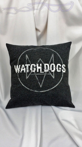 features the fox and distorted Watch Dogs logo in white on a gray background