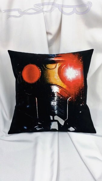 features the mask of Star-Lord, Peter Quill, on a black background