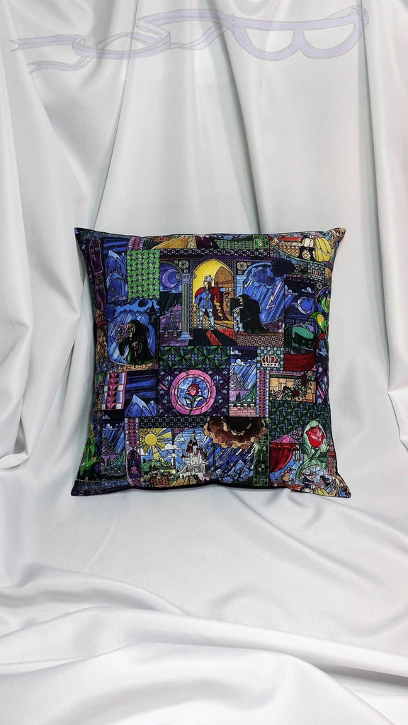 Beauty and the Beast fabric made into a cotton throw pillow cover for you. Stained Glass decor made with Disney Beauty and the Beast fabric