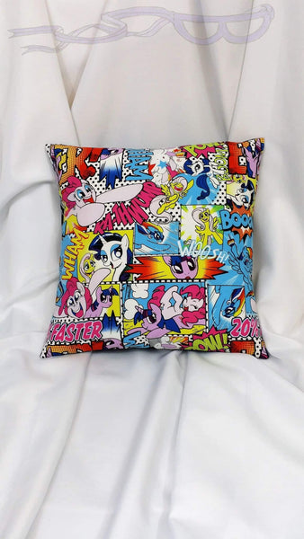 LAST ONE! My Little Pony cotton comic fabric made into a pillow cover. Brony bedding w/ Rarity, Rainbow Dash, Pinkie Pie, Fluttershy & Twilight Sparkle