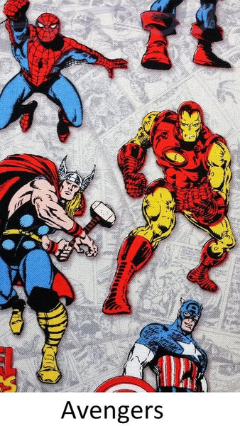 Marvel and Avengers fabric made into a cotton throw pillow cover for you.