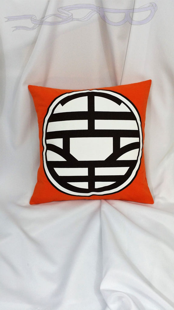 Dragon Ball Z orange shirt made into a decorative pillow cover. Manga decor