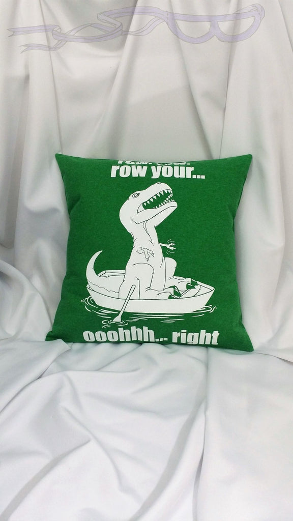 Short arm T-Rex shirt made into a throw pillow cover for you. Dinosaur tshirt made into funny decoration. Unique humorous bedding.