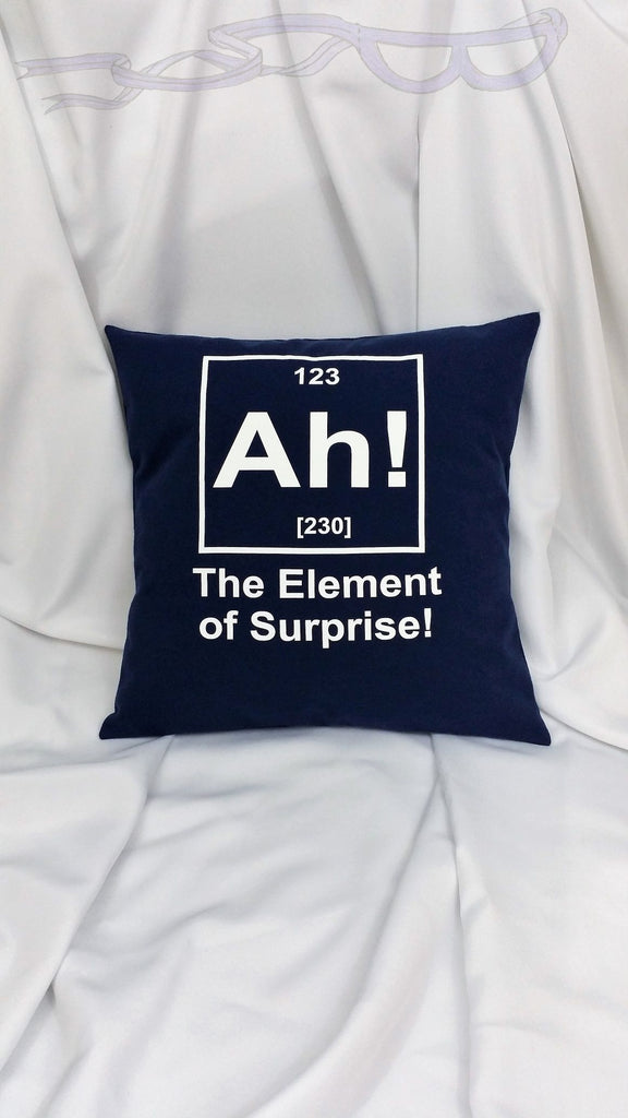 Science humor pillow cover. Science bedding with funny periodic element. Nerdy decoration, nerd gifts, science stuff, teacher gift ideas