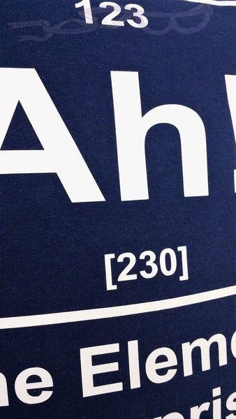 imaginary periodic element number 123 with its atomic mass listed as 230 in white on a navy background