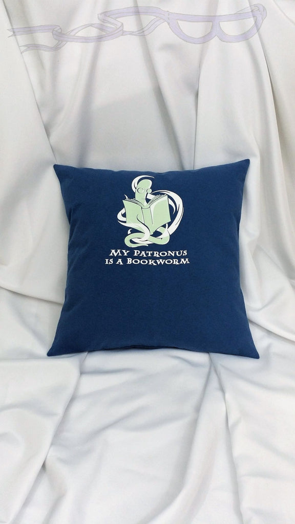 Bookworm patronus pillow cover. Fantasy book lovers bedding. Readers decor with bookworm. Nerdy reading gift with glow in the dark bookworm.