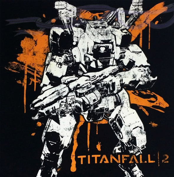 SRS Vanguard Titan in black and white with an orange backsplash behind the Titanfall 2 logo, all on a black background