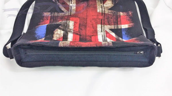 Crossbody bag made with Doctor Who & Underground shirts. London lovers cross body bag. Union Jack purse. Tardis shirt sewn into a unisex bag