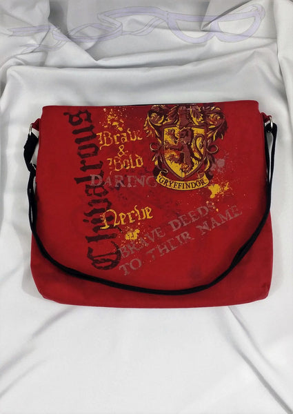 Crossbody bag made with Gryffindor house shirts. Brave & bold cross body bag. Big chivalrous purse. Harry Potter shirts sewn into unisex bag