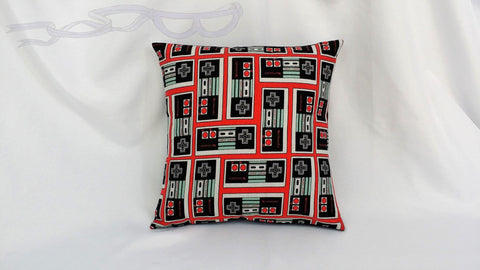 Nintendo Entertainment System controller fabric made into a pillow cover. Video game bedding made from NES controller shirt Old school decor