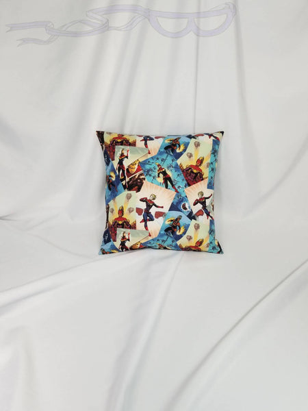 Captain Marvel fabric made into a pillow cover