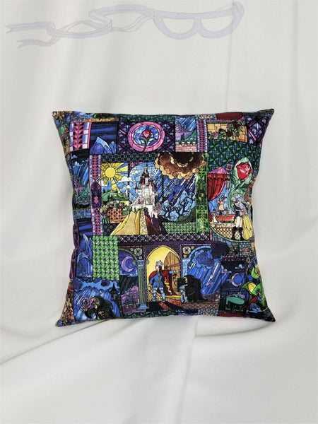 Beauty and the Beast Disney fabric made into a cotton throw pillow cover