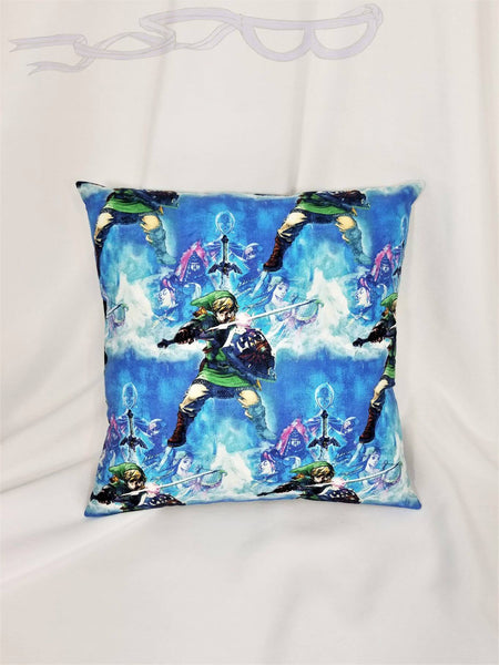Legend of Zelda Nintendo fabric made into a cotton throw pillow cover.