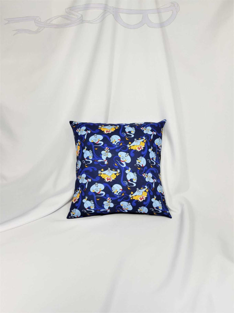 Aladdin genie fabric made into a cotton throw pillow cover for you.