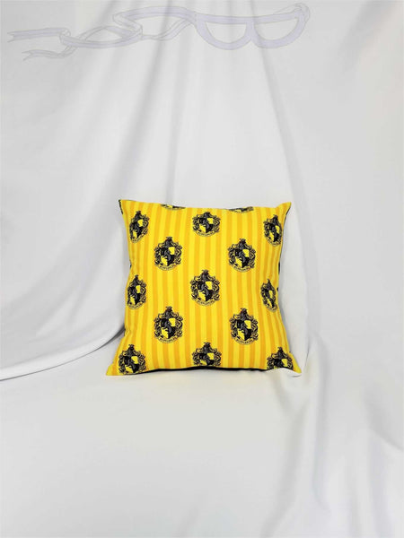 Hufflepuff House fabric made into a cotton throw pillow cover