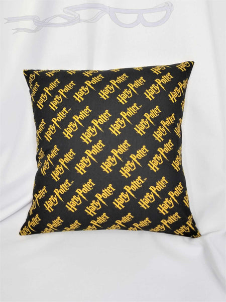 Harry Potter fabric made into a cotton throw pillow cover.