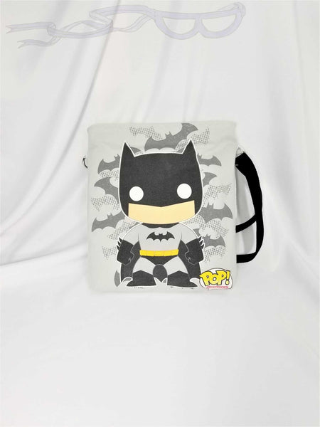 Fan shoulder bag made with Batman fabric.