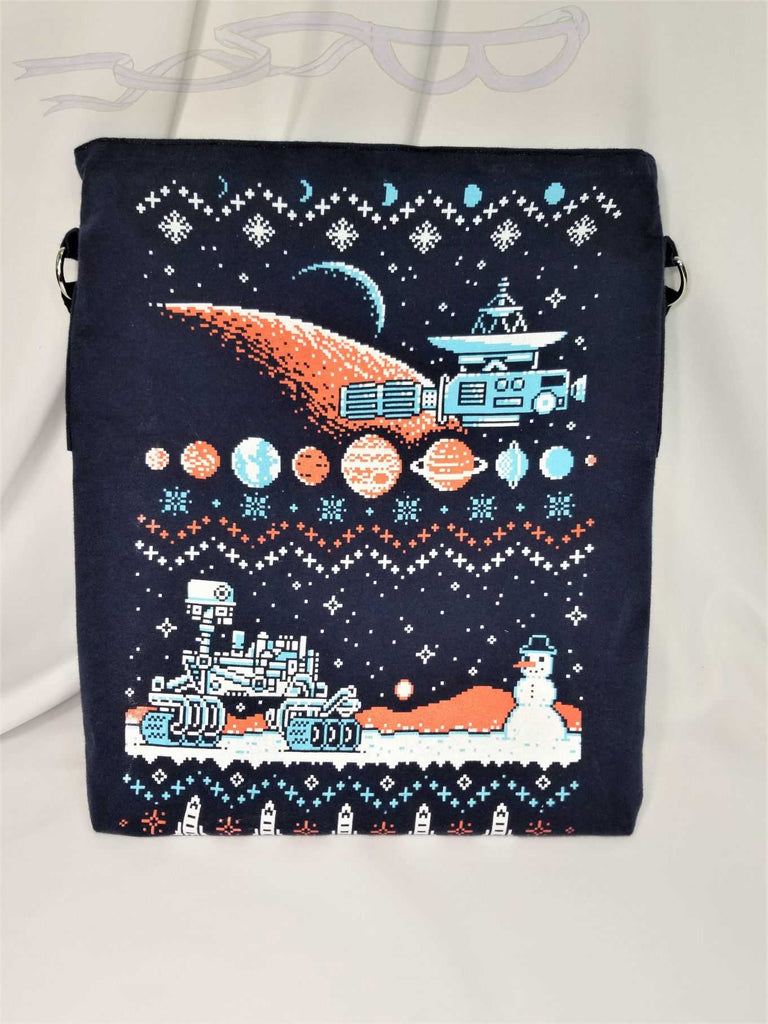 Pixelated space bag made from tshirts.