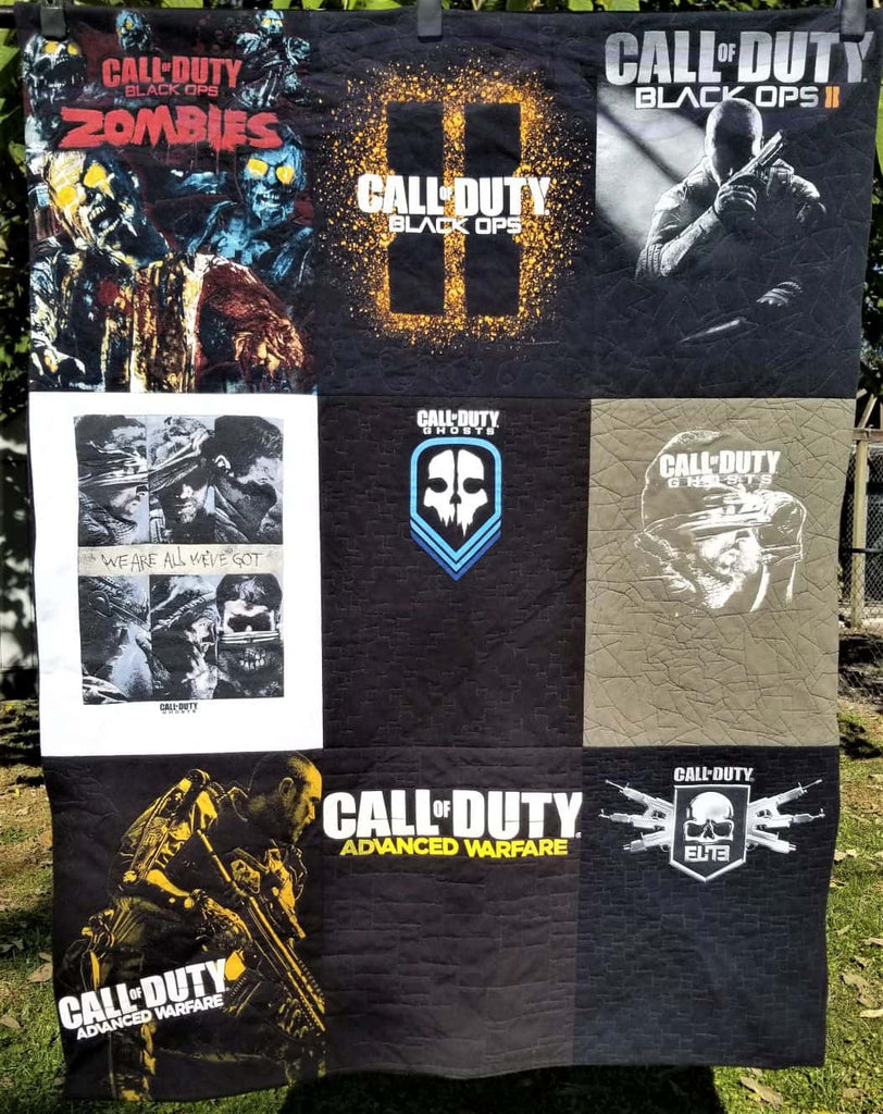 Call of Duty t-shirts made into a quilt.