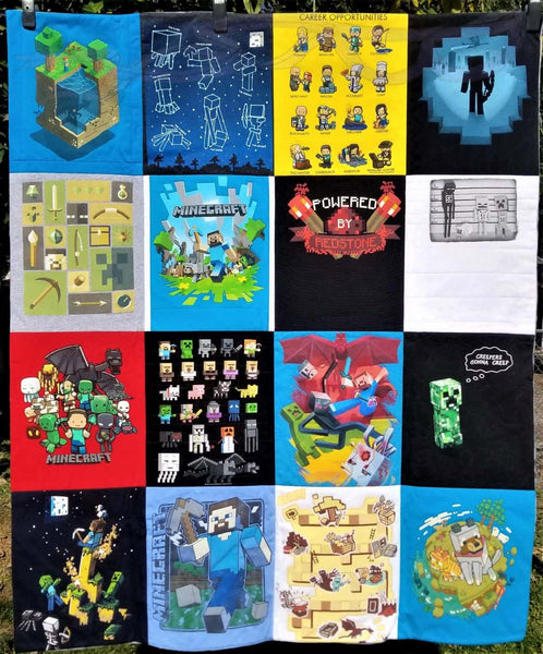 Minecraft t-shirts made into a quilt.