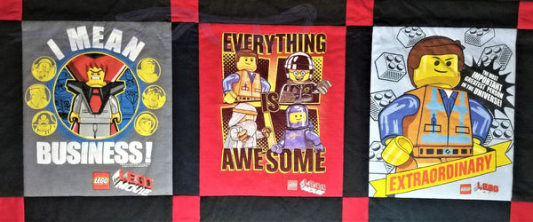Lego movie shirts made into a small quilt.