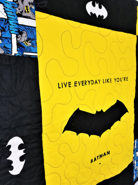 Batman fabric made into a wall hanging. Live Everyday Like You're Batman.