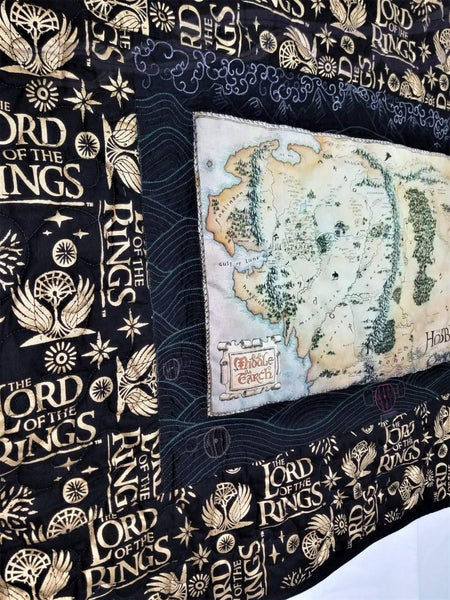 Lord of the Rings fabric made into a wall hanging.