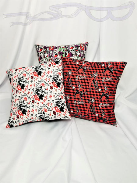 Harley Quinn & Joker DC Animated fabric made into a pillow cover