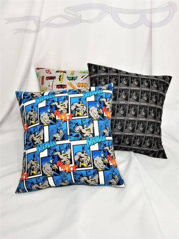 Batman DC Comics fabric made into a pillow cover