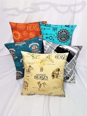 5 choices! Cotton pillow cover made from licensed Fantastic Beasts and Where to Find Them fabric.