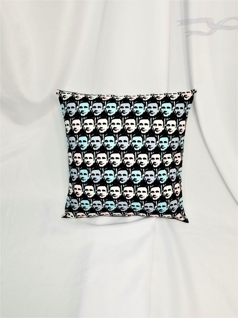 The Office fabric made into a decorative pillow cover for you.