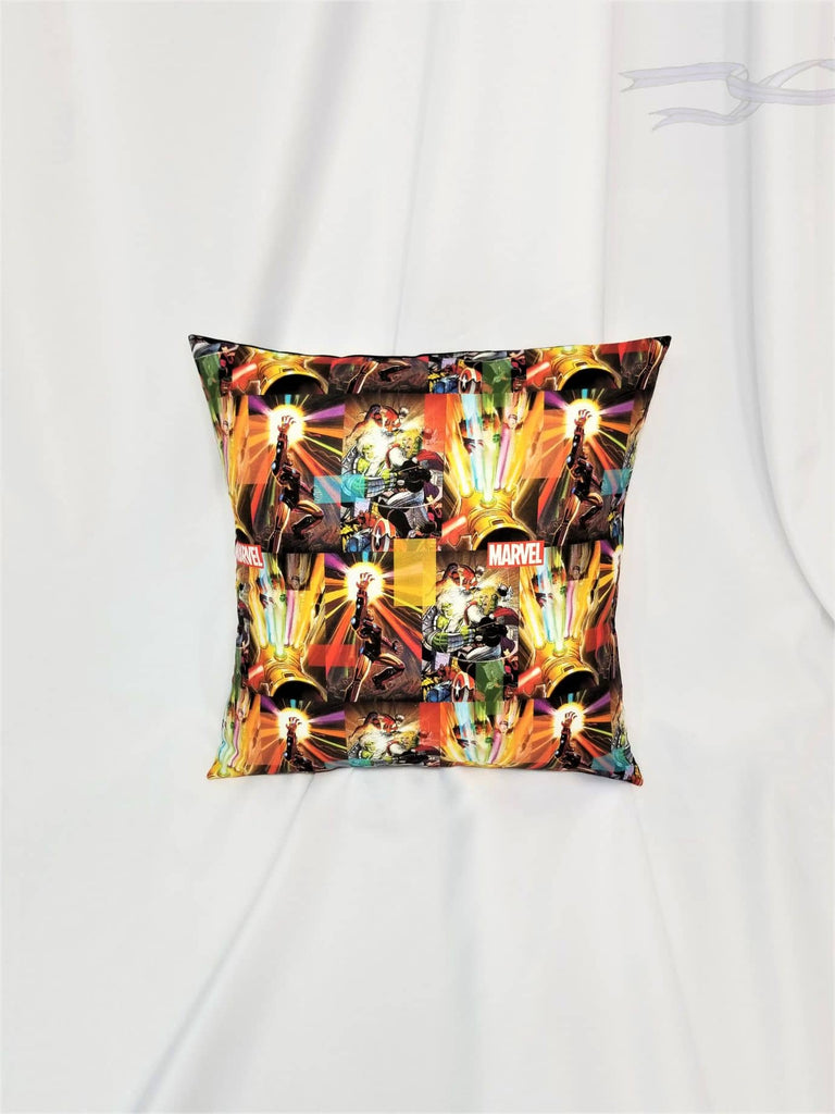 Superhero pillow cover made with Marvel cotton.
