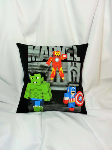 Avengers crossover T-shirt made into a decorative pillow.