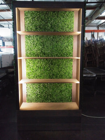 Lighted Boxwood Hedge Bar Back Unit with Shelves