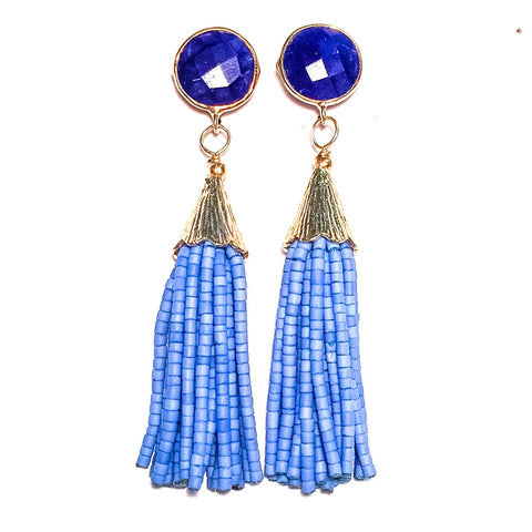 Cha Cha Cha Tassel Earrings, Lapis & Jacaranda