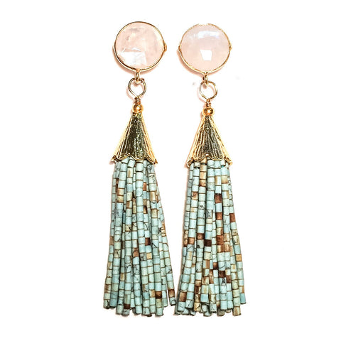 Cha Cha Cha Tassel Earrings - Rainbow Moonstone & Mint