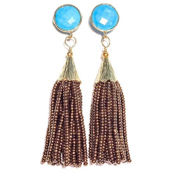 Cha Cha Cha Tassel Earrings, Turquoise & Copper