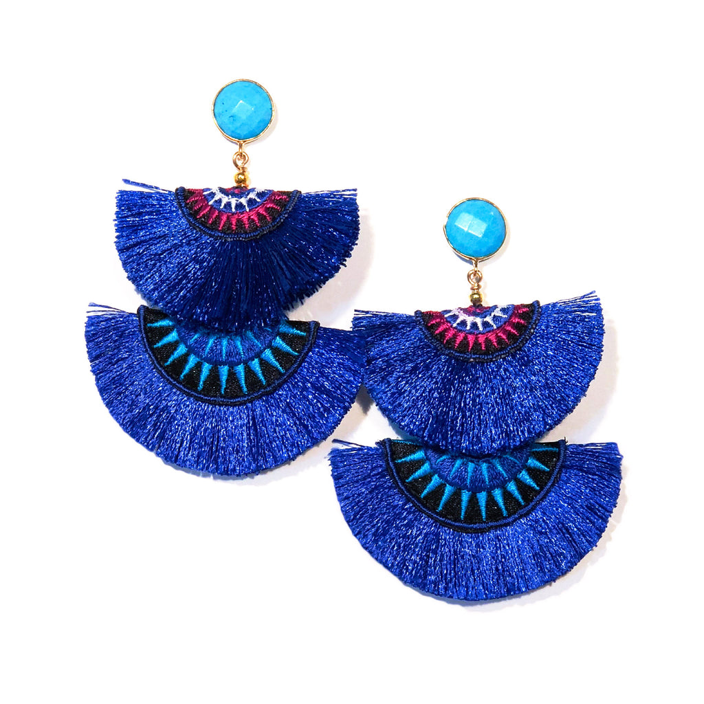Antena Double Fan Earrings - Blue