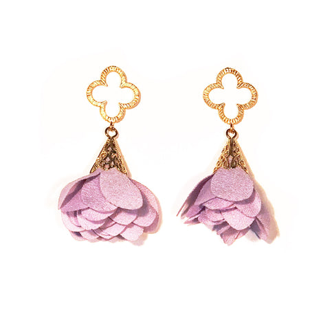 Tess Petal Quatrefoil Earrings - Lilac