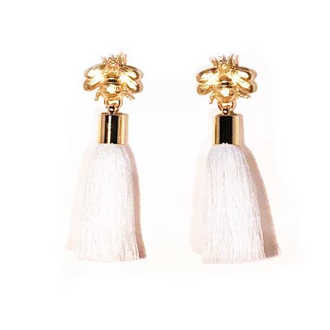 SugarBuzz Queen Bee Tassel Earrings - White