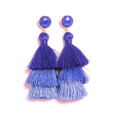HE 670 Capri Triple Tassel Earrings - Lapis Ocean Ombre
