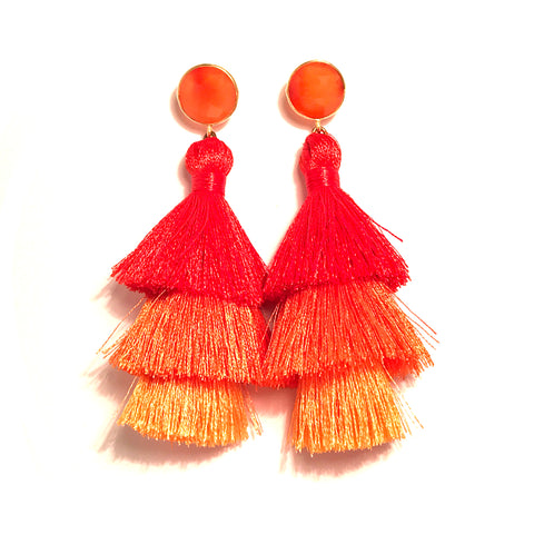 HE 670 Capri Triple Tassel Earrings - Orange Ombre