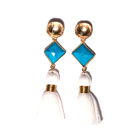 HE 690 Telfair Tassel Earrings - Turquoise & White