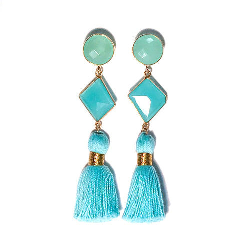 HE 690 Telfair Tassel Earrings - Aqua Chalcedony