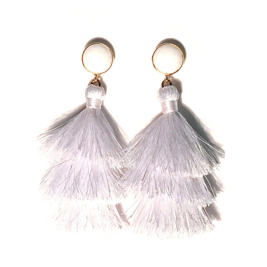 HE 670 Capri Triple Tassel Earrings - White